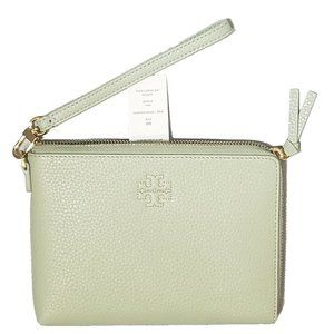 Tory Burch The Large Zip GardenSage Leather Clutch